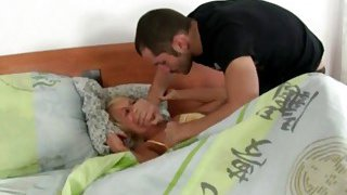 Horny guy rips up stepsis's pajamas and bangs her wet pussy and tight ass image