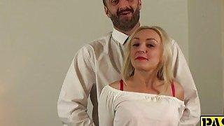 Sexy blonde mature deepthroats and gets fucked by a fat cock image