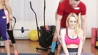 Katarina and Angel sharing trainer long cock in gym image