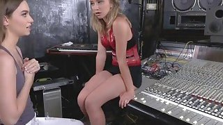 Music studio is a great_place for two hot image
