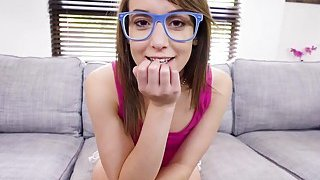 Petite teen in blue frame glasses bangs image
