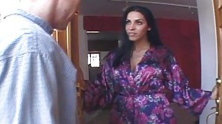 Dark haired step mom gets roughly banged in bedroom image