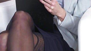 Blonde secretary bangs_her young boss image