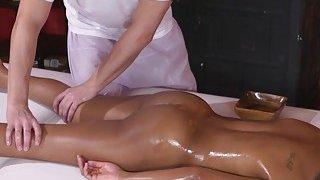 Tight busty ebony got interracial massage image