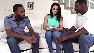 Huge ass MILF bends over and gets fucked by two black studs image