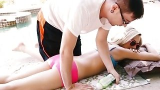 Divine hot blonde seduces her stepbro into massaging her image