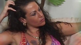 Extraordinary brunette MILF gives deep blowjob and gets_her pussy drilled image