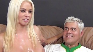 Image: Huge boobed Nikita Von James gets cum on tits after BJ and titjob