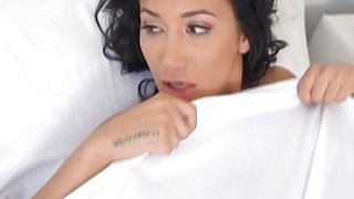 Keiran Lee licks Amia Mileys juicy twat in the bedroom image