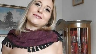 Image: Czech slut flashes her tits and fucked for a few bucks