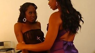 Two slutty ebony lesbian babes in awesome sex adventure in_a dressing room image