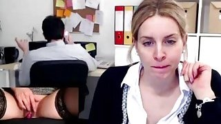 Image: Amateur Masturbation Gushing Orgasm In Public Office While At Work