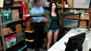 Dark haired bitch Alex Harper gets fucked super hard by a security guard in his office image