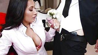 Huge boobs babe Amia Miley pussy slammed image