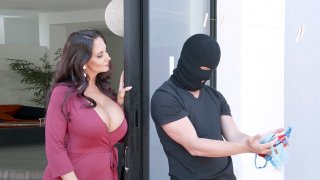Image: Ava Addams caught the panties' thief and invited him in the house