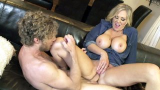 Big titted mom Julia Ann rides the hard boner cwogirl style image