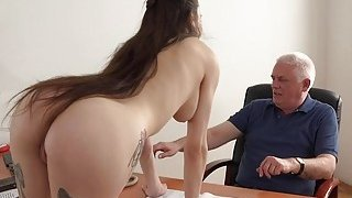 Young Girl Fucked by Old Man Office Deepthroat image
