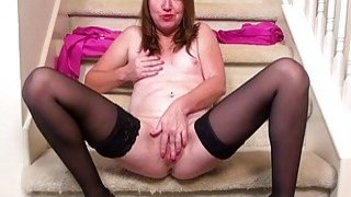USAwives Horny Mature Masturbating on the Stairs image