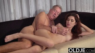 Old Young Porn Natural Teen Takes Grandpa cock image