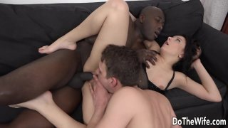 Image: Wife Takes a Black Dick in Her Mouth and Ass While Her Husband Licks Her Cunt