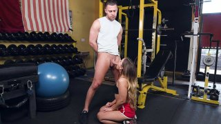 Teen Cleo Vixen sucking the big cock in the gym image