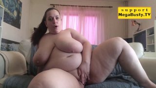 BBW chick teases with her chubby body and fingers herself image