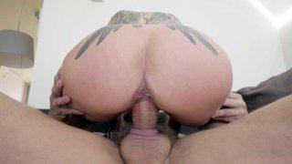 MILF Helena Kramer slides her pussy on the hard rod image