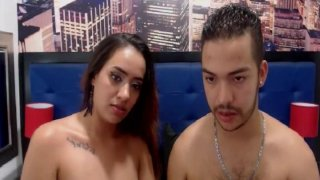 Image: Colombian Brunette Suck Her Partner Cock Hard