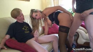 Image: Curvy mom in stockings gets double teamed and receives facials