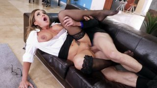 Image: Aubrey Black in sexy black stockings gets pussy pounded