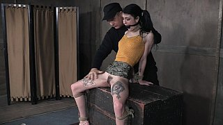 Tied-up slave tortured with a vibrator image
