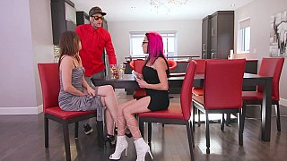birthday party lesbian strap on Xxx scene: Lesbian strap-on sex to_kick off a threesome image