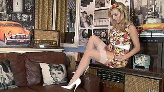 Image: See-through panties blonde teases you