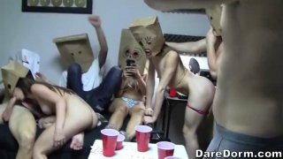 Big ass babe gets doggy styled in a funny sex party image