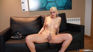 Blonde girl Candela X has a sexy_tatto_on her pussy image