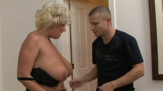 Curvy slut Claudia Marie with huge boobs sucking dick image