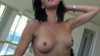 Skinny small jugs brunette bitch Molly Madison gives blowjob and rides on top. image