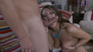 Brazen hussy Carmen McCarthy give a hot blowjob and and gets pinnes roughly image