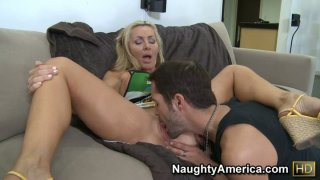 Sexy mom Lisa DeMarco giving a blowjob and fucking young and strong cock image