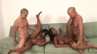 Image: Two black chicks Stacy and Aline are fucked simultaneously