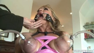 Nasty granny Shayla Laveaux begs for cum in her mouth. BDSM video. image