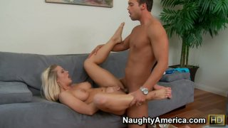 Ugly blonde MILF Holly Heart fucks missionary on the couch image