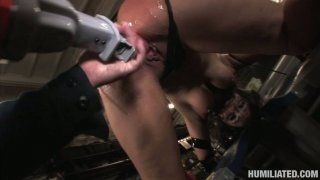 Whorish cunt Charley Chase gets bounded and fucked by weird dildo device image