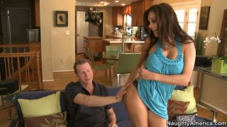 Busty brown haired MILF Francesca Le sucks cock and gives titjob image