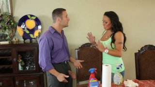 Brunette maid Mariah Milano gives awesome blowjob image
