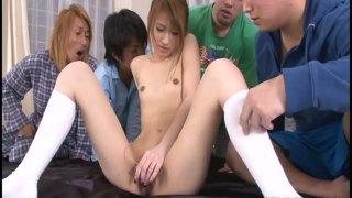 Most epic bukakke jav ⁃ Tight jap yuzu shiina in hottest bukakke_action image