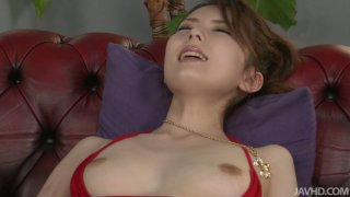 Two dildos pleases fluffy pussy of Japanese slut Yui Hatano image