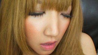 Cute blonde Hikari Asakawa masturbates with tiny vibrator image