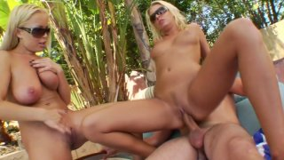 Two blonde milfs Jessica Moore and Riley Evans_ride cock on vacation image