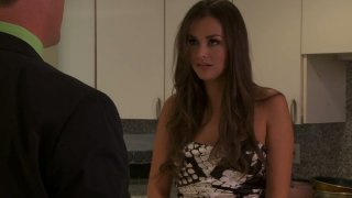 Naughty housewife Allie Haze gets her snapper eaten on the steps image